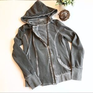 LUCKY BRAND Moto Style Asymmetrical Zip Hoodie F1